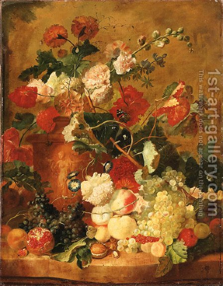 Roses, Carnations and other Flowers in a sculpted terracotta Vase with a Pomegranate, Peaches, Plums, Grapes, a Walnut, Hazelnuts and Currants by (after) Huysum, Jan van - Reproduction Oil Painting