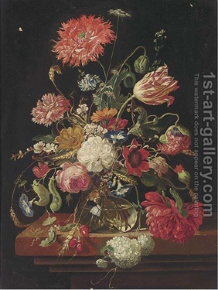 Tulips, roses, carnations and other flowers in a glass vase on a stone ledge by (after) Huysum, Jan van - Reproduction Oil Painting