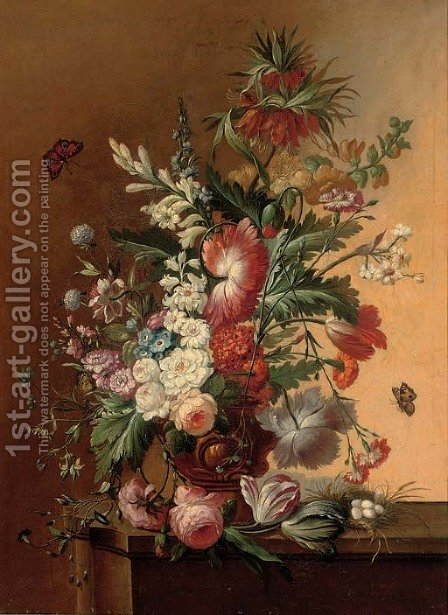 Roses, morning glory, carnations and other flowers in an urn on a ledge with eggs in a nest by (after) Huysum, Jan van - Reproduction Oil Painting