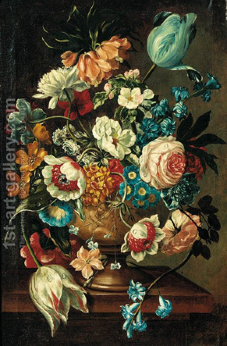 A summer bloom in an urn on a ledge by (after) Jan Van Os - Reproduction Oil Painting