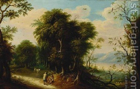 A wooded river landscape with figures on a track by (after) Jasper Van Der Lanen - Reproduction Oil Painting