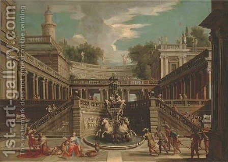 A capriccio of a classical palace with Samson and Delilah by (after) Jean Lemaire - Reproduction Oil Painting