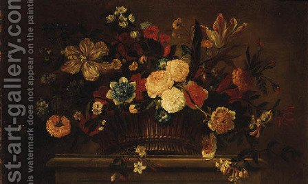 Roses, Tulips, Carnations, Morning Glory and other Flowers in a Basket on a Ledge by (after) Jean-Baptiste Monnoyer - Reproduction Oil Painting