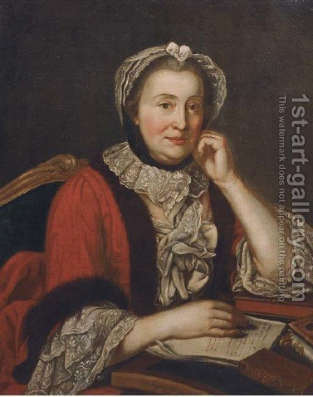 Portrait of a lady, half-length, in a red fur-lined coat and with lace headdress, seated at a secretaire by (after) Jean-Marc Nattier - Reproduction Oil Painting