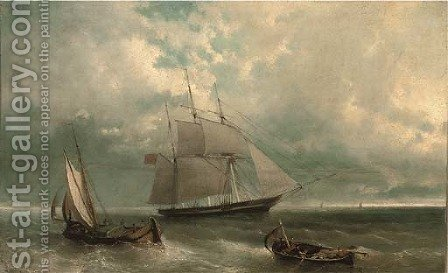 A British merchantman amidst other fishing craft in coastal waters by (after) John Callow - Reproduction Oil Painting