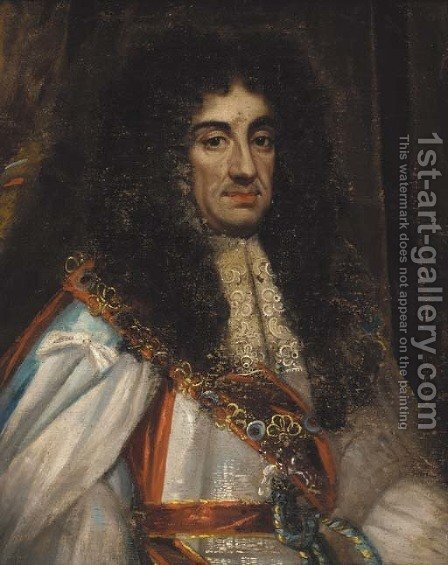 Portrait of Charles II (1630-1685), half-length, in Garter robes by (after) John Michael Wright - Reproduction Oil Painting