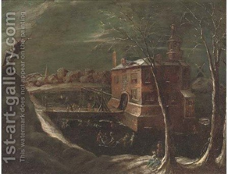 A moonlit winter landscape with skaters on a frozen lake, a mansion beyond by (after) Joseph Van Bredael - Reproduction Oil Painting
