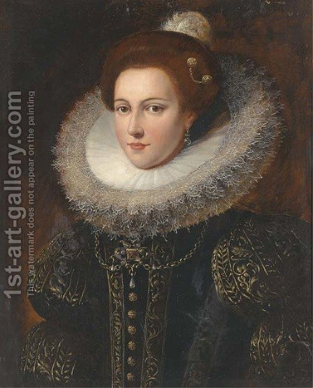 Portrait of a lady, bust-length, in an ornately embroidered dress and ruff by (after) Justus Sustermans - Reproduction Oil Painting