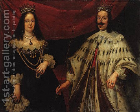 Portrait of Ferdinand II Grand Duke of Tuscany (1610-1670) and Victoria della Rovere (1622-1694), three-quarter-length, in ceremonial robes by (after) Justus Sustermans - Reproduction Oil Painting
