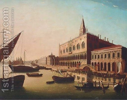 The Bacino di San Marco, Venice, looking West with the Doge's Palace and the Piazetta by (after) Luca Carlevarijs - Reproduction Oil Painting