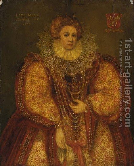 Portrait of a lady, small full-length by (after) Marcus The Younger Gheeraerts - Reproduction Oil Painting