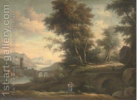 A wooded river landscape with an amorous couple on a track, classical buildings beyond by (after) Peter Tillemans - Reproduction Oil Painting