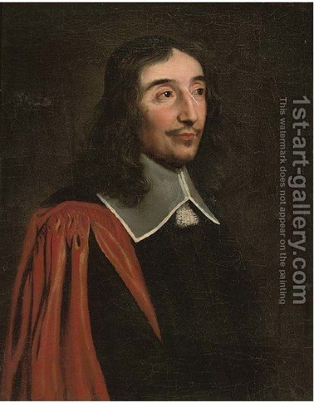 Portrait of a gentleman, bust-length, in a red gown by (after) Philippe De Champaigne - Reproduction Oil Painting