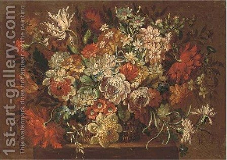 Summer flowers in a wicker basket by (after) Pieter Hardime - Reproduction Oil Painting