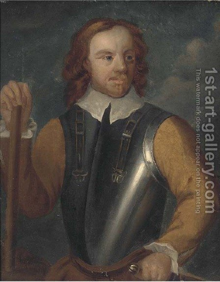 Portrait of Oliver Cromwell (1599-1658), half-length, in armour by (after) Robert Walker - Reproduction Oil Painting