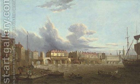 An extensive view of old London Bridge from the East, with the church of St. Magnus and the Monument beyond by (after) Samuel Scott - Reproduction Oil Painting
