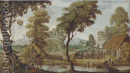 An extensive landscape with a village kermesse by (after) Sebastian Vrancx - Reproduction Oil Painting