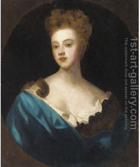 Portrait of a lady, bust-length, in a blue dress by (after) Sir Peter Lely - Reproduction Oil Painting