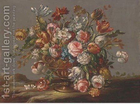 Parrot tulips, roses, narcissi and other flowers in an urn in a clearing by (after) The Pseudo-Guardi - Reproduction Oil Painting