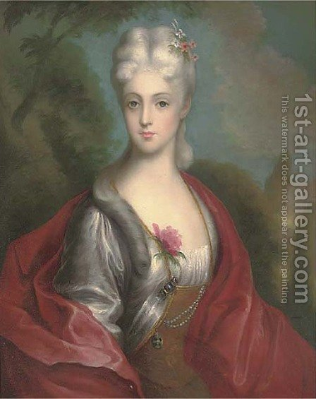 Portrait of a lady, half-length, in a red wrap, a landscape beyond by (after) Gainsborough, Thomas - Reproduction Oil Painting