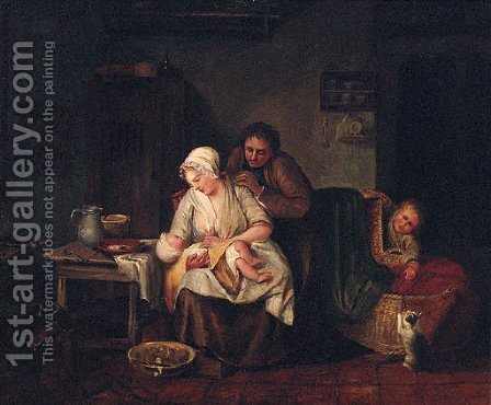 Feeding Time by (after) Thomas Webster - Reproduction Oil Painting