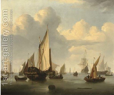 A States Yacht in a calm with a Dutch three-master and other boats by (after) Willem Van De, The Younger Velde - Reproduction Oil Painting