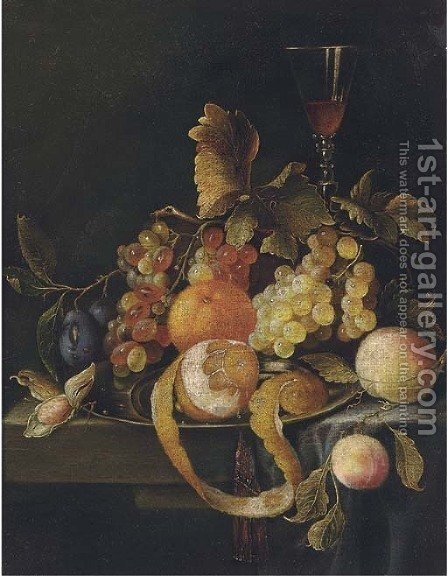 Still life of oranges, grapes, peaches, plums and a glass of wine on a stone ledge by (after) William Sartorius - Reproduction Oil Painting