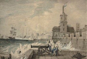 Naval School reproductions - Rowing out to the flagship; and Manning the cannon (illustrated)