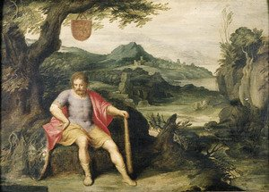 Hercules seated at the foot of a tree in a landscape
