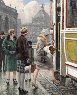 Famous paintings of Trams: At the tram stop