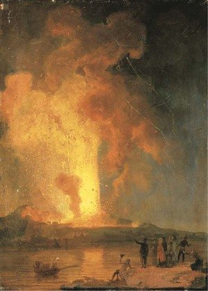 Vesuvius erupting at night with spectators in the foreground