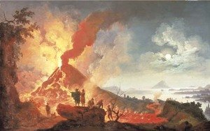 Reproduction oil paintings - Pierre-Jacques Volaire - Vesuvius erupting at night with onlookers, the bay of Naples beyond