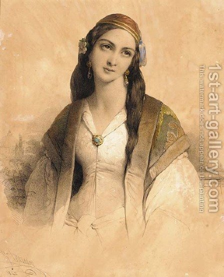 A young Greek beauty by Henri Grevedon - Reproduction Oil Painting