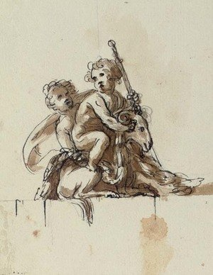 Reproduction oil paintings - Pieter Antonie Von Verschaffelt - Two putti with a goat