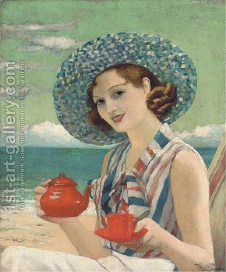 Tea by the sea by Harold Piffard - Reproduction Oil Painting