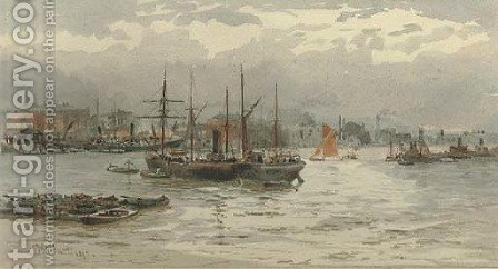 Shipping in the Pool of London by (after) Hubert James Medlycott - Reproduction Oil Painting