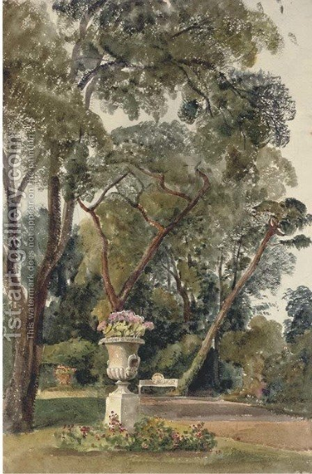 A classical urn in the garden of Down Hall, Essex by Harriet Cheney - Reproduction Oil Painting