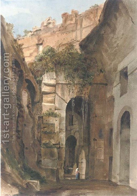 A figure in the interior of the Colosseum, Rome by Harriet Cheney - Reproduction Oil Painting