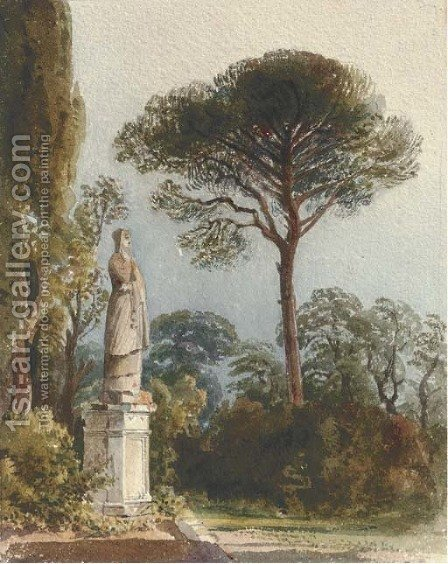 A statue in the gardens of the Villa Muti, Frascati by Harriet Cheney - Reproduction Oil Painting