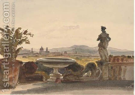 View of Florence from the terrace of Boccaccio's Villa by Harriet Cheney - Reproduction Oil Painting