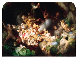 Reproduction oil paintings - Robert Huskisson - Titania's Elves robbing the Squirrel's Nest - Midsummer Night's Dream