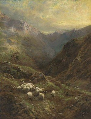 A shepherd with his flock in a Highland landscape
