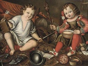 Reproduction oil paintings - Spanish School - An Allegory of Male and Female, two children seated in an interior with masculine and feminine symbols
