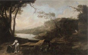 Reproduction oil paintings - Spanish School - An extensive Italianate river landscape with a hermit seated by a tree reading