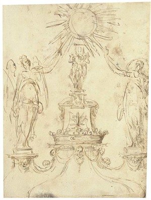 Reproduction oil paintings - Spanish School - Design for a monstrance with two angels flanking a central column bearing a coronet and a Cross of Lorraine
