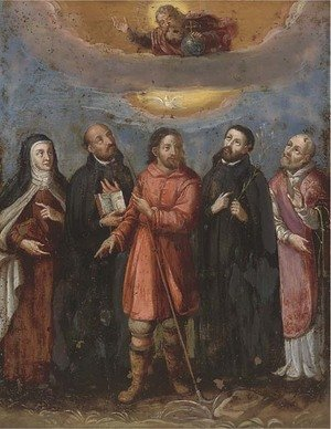 Reproduction oil paintings - Spanish School - God in Glory with five Saints