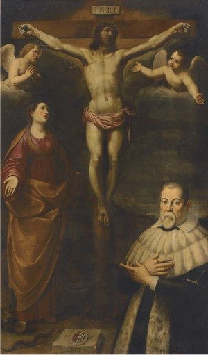 Reproduction oil paintings - Spanish School - The Crucifixion with a male donor