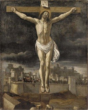 Reproduction oil paintings - Spanish School - The Crucifixion, with Jerusalem beyond