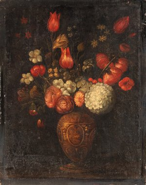 Reproduction oil paintings - Spanish School - Tulips, roses and other flowers in an ornamental vase