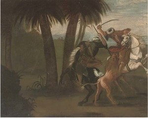 Ottomans on horseback hunting a lion